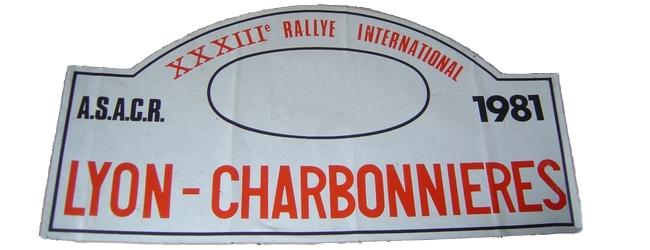 XXXIIIème Rallye Lyon Charbonnières 1981 Fiche technique : 23ème édition du27 févrierau 1er mars 1981. Voilà la seule chose que j'ai trouvé sur cette année là (site asa du Rhone): En 1981, de fortes chutes de neige sur les spéciales du Bugey perturbent l'organisation d'une épreuve remportée par le grenoblois Bruno Saby sur R5 Turbo. Résultats : Pierre Mény – Jean-François Liénéré Alpine A310 V6 Groupe IV #14 Abandon : touchette et chauffe moteur ES20 Classement : 1° SABY-SEVELINGE / R5 TURBO GR4 2° CLARR-TILBER / OPEL ASCONA 400 GR4 3° CHASSEUIL-BARON / VW GOLF GTI GR1