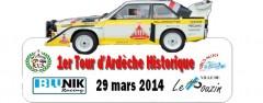 1er Tour d'Ardèche Historique  Le Team RVS et Virus Auto organisent le 1er Tour d'Ardèche Historique, un rallye de régularité qui se déroulera le samedi 29 mars 2014 sur les superbes routes de l'Ardèche. Les autos…   Classement final Blunik : ici Détail de l'épreuve du 1er tour d'Ardèche : 321 km Vendredi 28 mars 2014 : 17h / 19h30 Vérifications administratives et Techniques Le Pouzin Samedi 29 mars 2014 : 7h / 9h15 Vérifications administratives et Techniques Le Pouzin 9h45 départ 1ére étape : 90Km Le Pouzin / Le Pouzin – Repas 14h00 départ 2ème étape […]