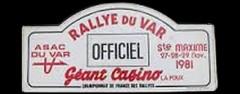 XXVIIème Rallye du Var 1981 Location du moteur à Dany SNOBECK et du copilote ! Fiche technique : 27ème édition du 27 au 29 novembre 1981. Dany SNOBECK – Jean-François LIENERE Renault 5 Turbo #7 Abandon : sortie de route ES 1 Col du Canadel Résultats : 1°DE MEYER-BREZZO / R5 TURBO GR4 2°VINCENT-HURET / PORSCHE 911 SC 3L GR4 3°MANZAGOL-MONTI / R5 TURBO GR4 Bibliographie : vidéo : ZSteph28